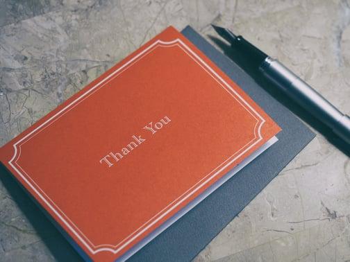 Orange and black thank you card